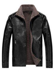 Faux Shearling Lined Zip Jacket vinyle -