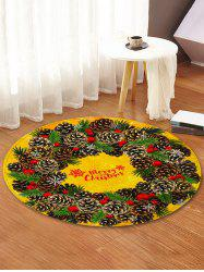 Christmas Pine Cones Greeting Pattern Round Area Rug -