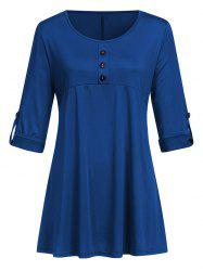 Buttoned Roll Sleeve Top -