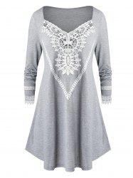 Plus Size Lace Insert Long Tunic T Shirt -