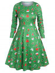 Plus Size Christmas Printed Midi A Line Dress -