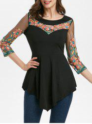 Embroidered Round Collar Tunic T Shirt -