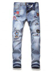 Letter Icon Embroidery Casual Jeans -