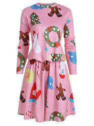 Drop Waist Christmas Tree Snowman Long Sleeve Dress -
