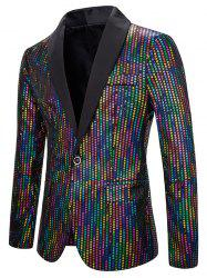 Shiny Colorful Sequined One Button Shawl Collar Blazer -