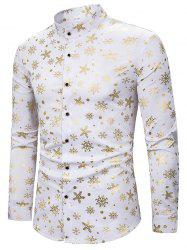 Snowflake Gilding Printed Long Sleeves Shirt -