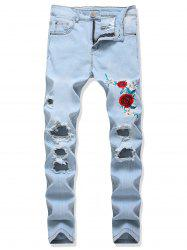 Floral Embroidery Destroy Wash Jeans -