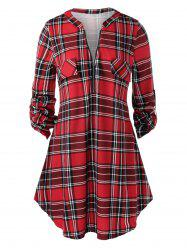 Plus Size Half Zip Roll Up Sleeve Plaid Blouse -