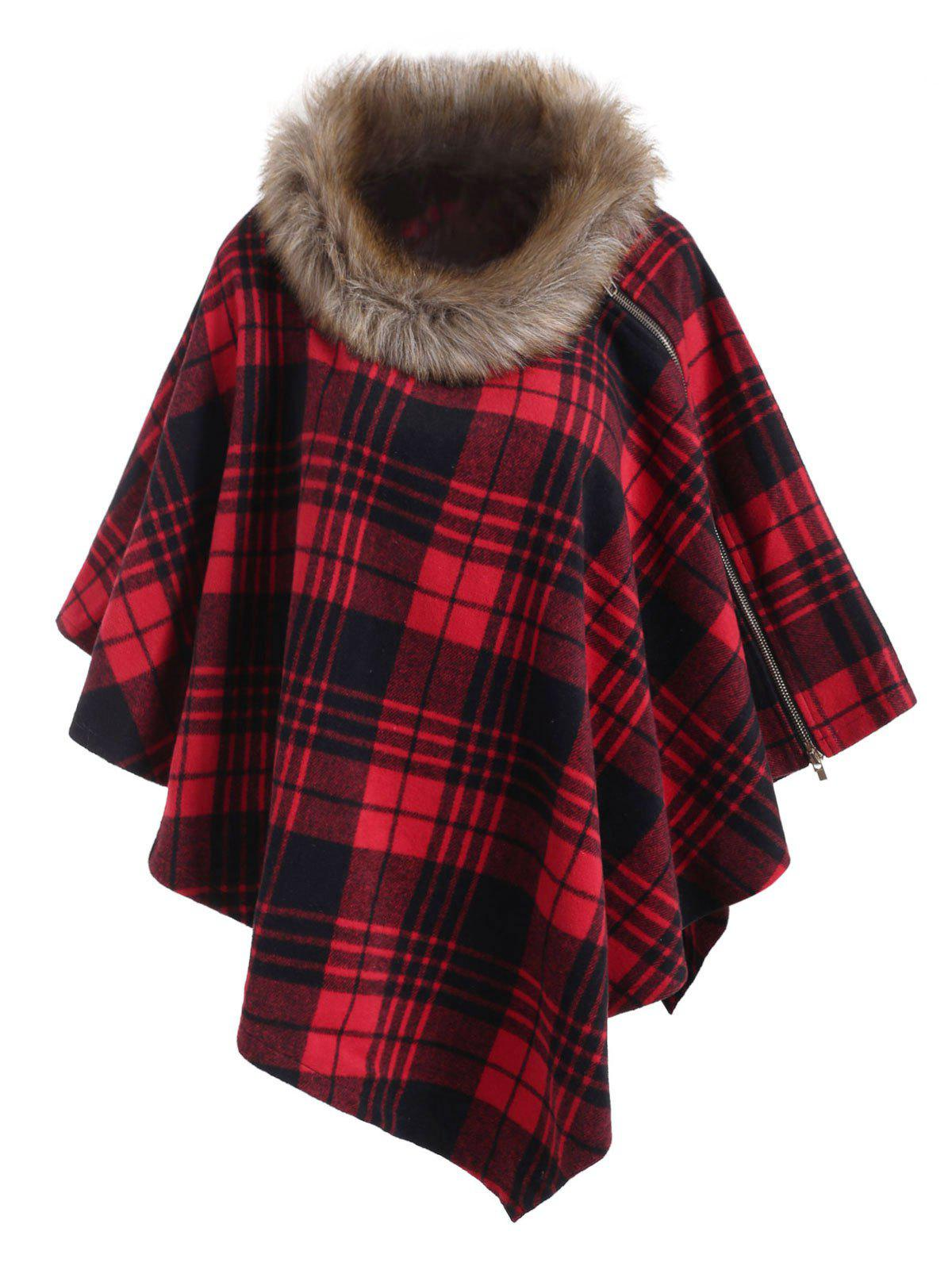 Best Multiway Faux Fur Collar Plaid Zipper Poncho