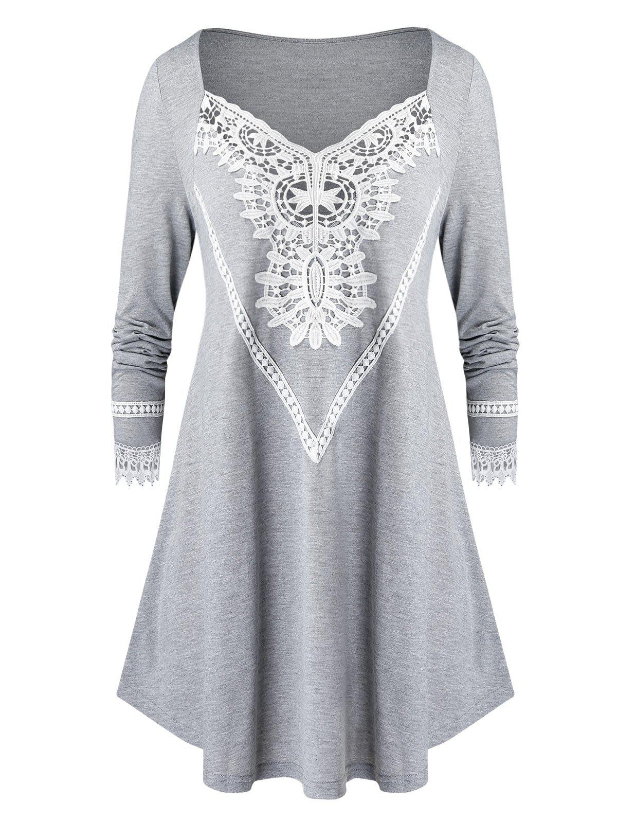 New Plus Size Lace Insert Long Tunic T Shirt