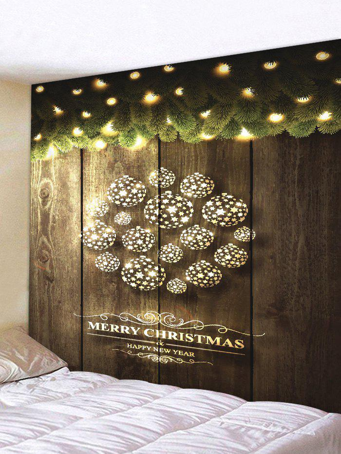 Shop Christmas Star Ball Wood Grain Print Tapestry Wall Hanging Art Decoration