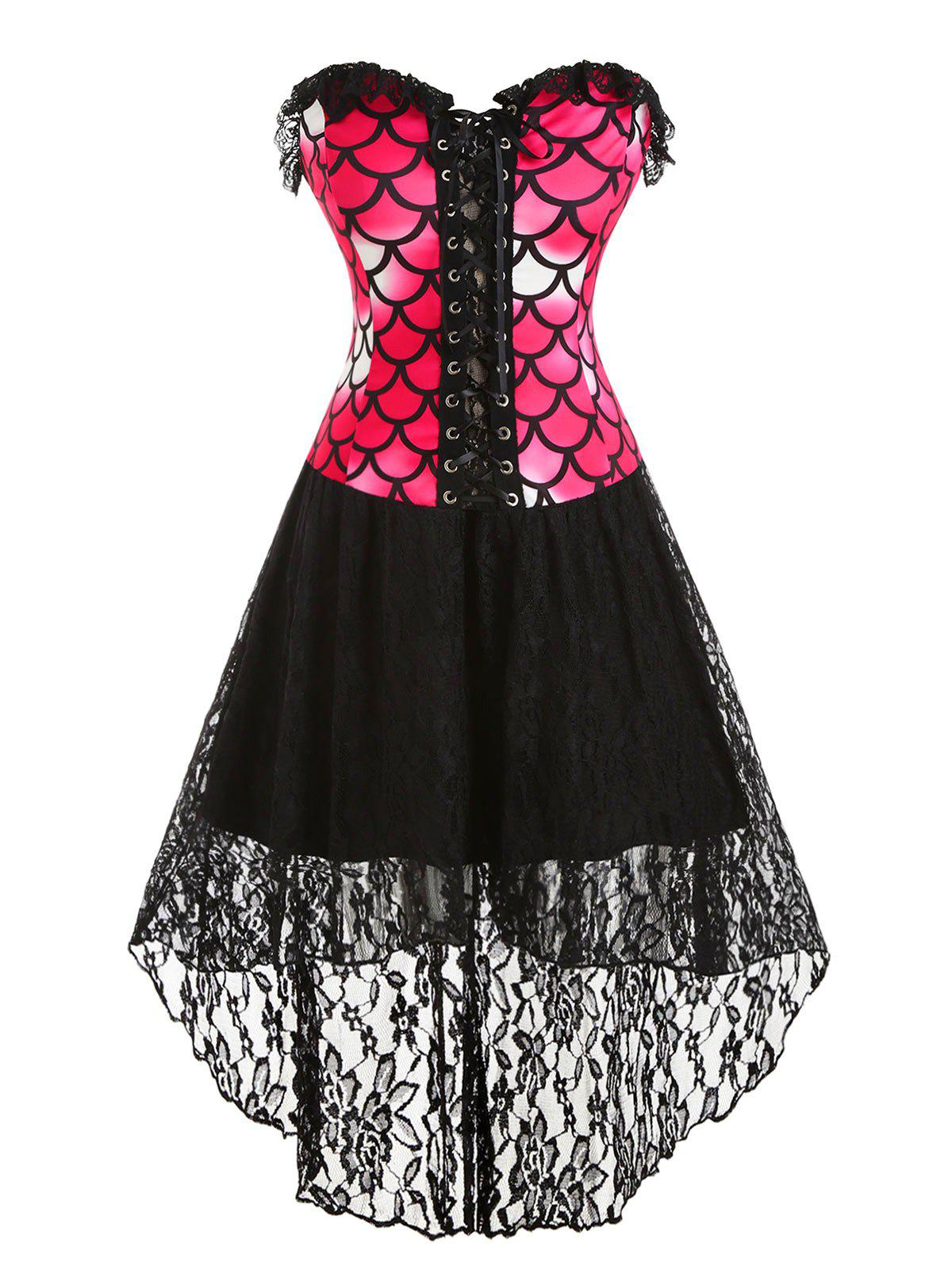 Lace Up Lace Panel High Low Mermaid Scales Print Plus Size Corset Dress, Black