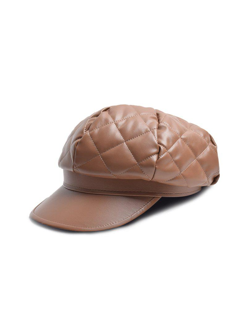 Online Solid PU Quilted Casual Cap