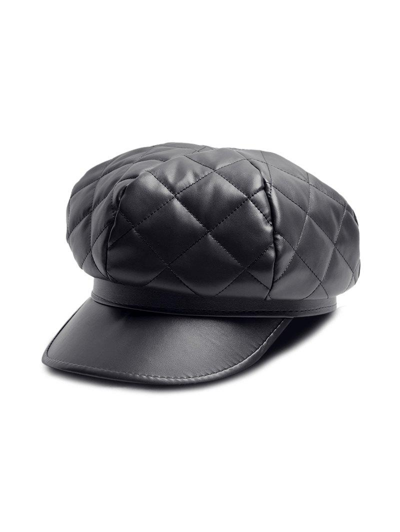 Outfit Solid PU Quilted Casual Cap