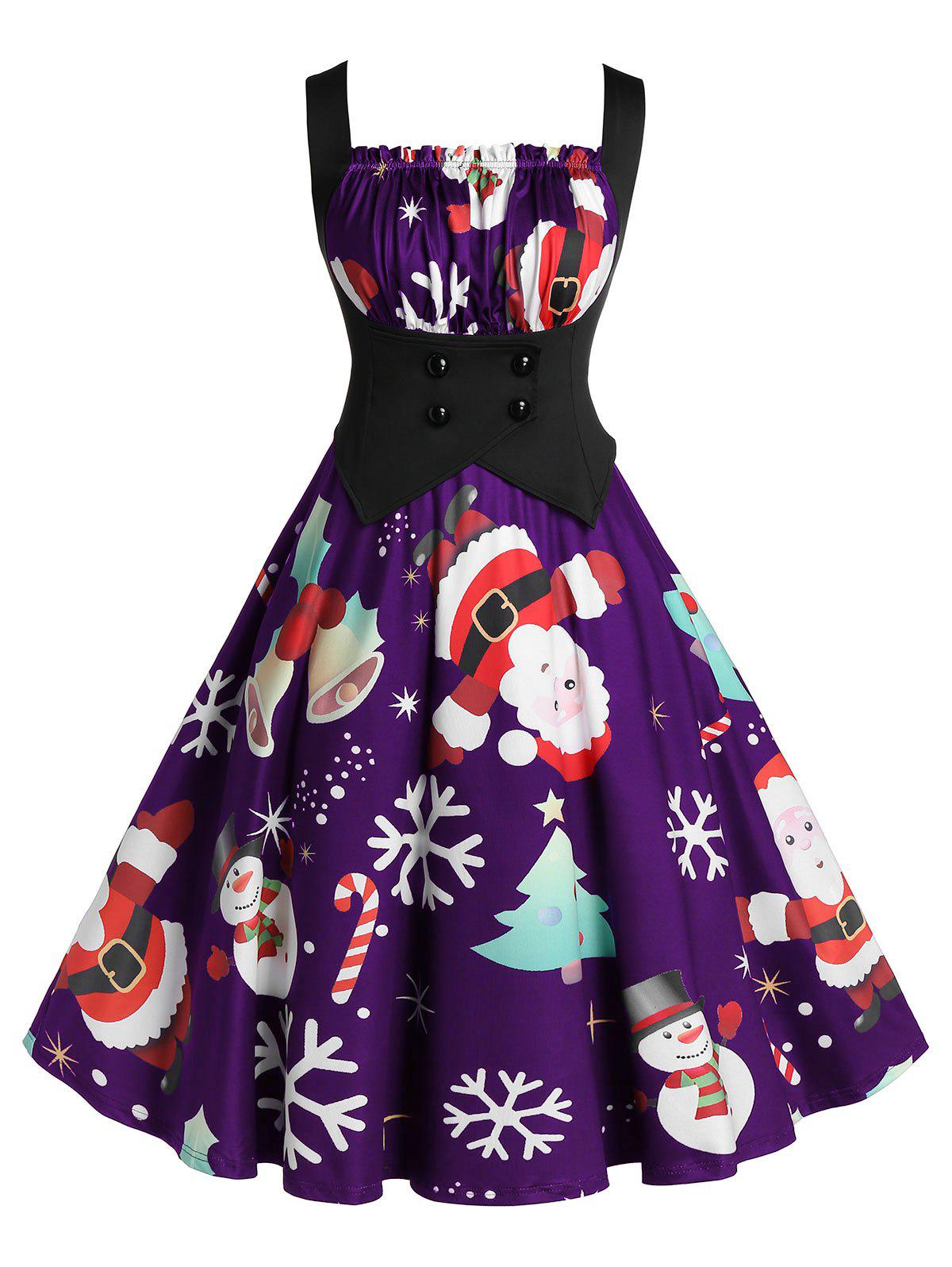 Store Plus Size A Line Pleated Christmas Printed Dress