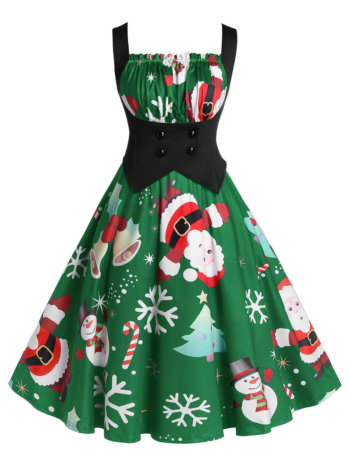 New Plus Size A Line Pleated Christmas Printed Dress