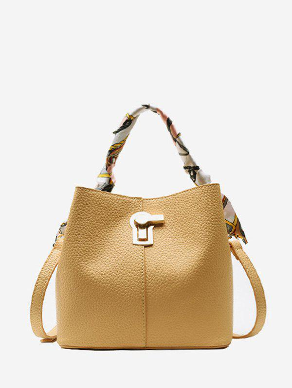 Affordable Silk Embellished Hasp PU Leather Bucket Bag