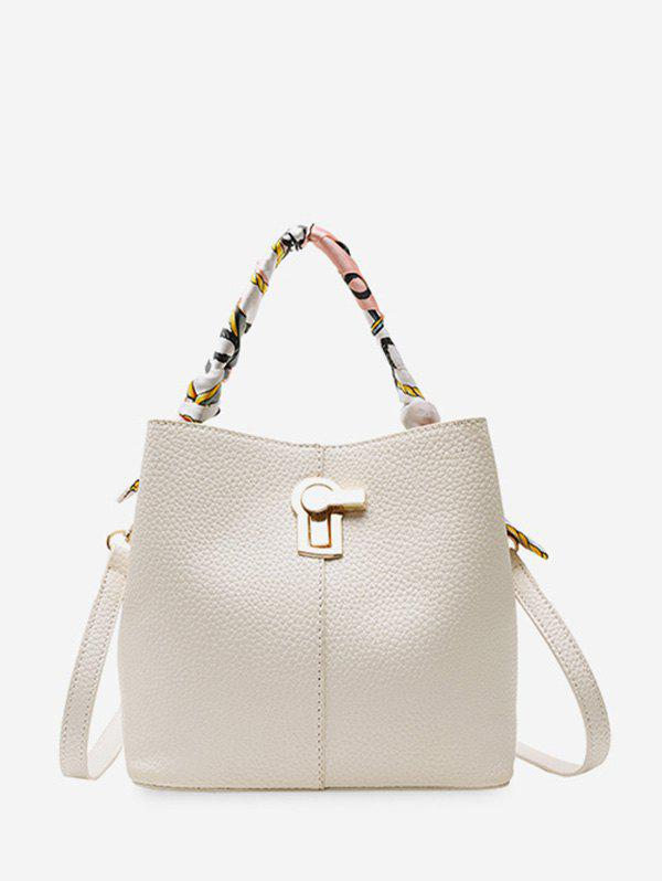 New Silk Embellished Hasp PU Leather Bucket Bag