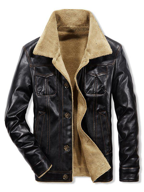 Trendy Faux Shearling Lined Button Up Vinyl Jacket