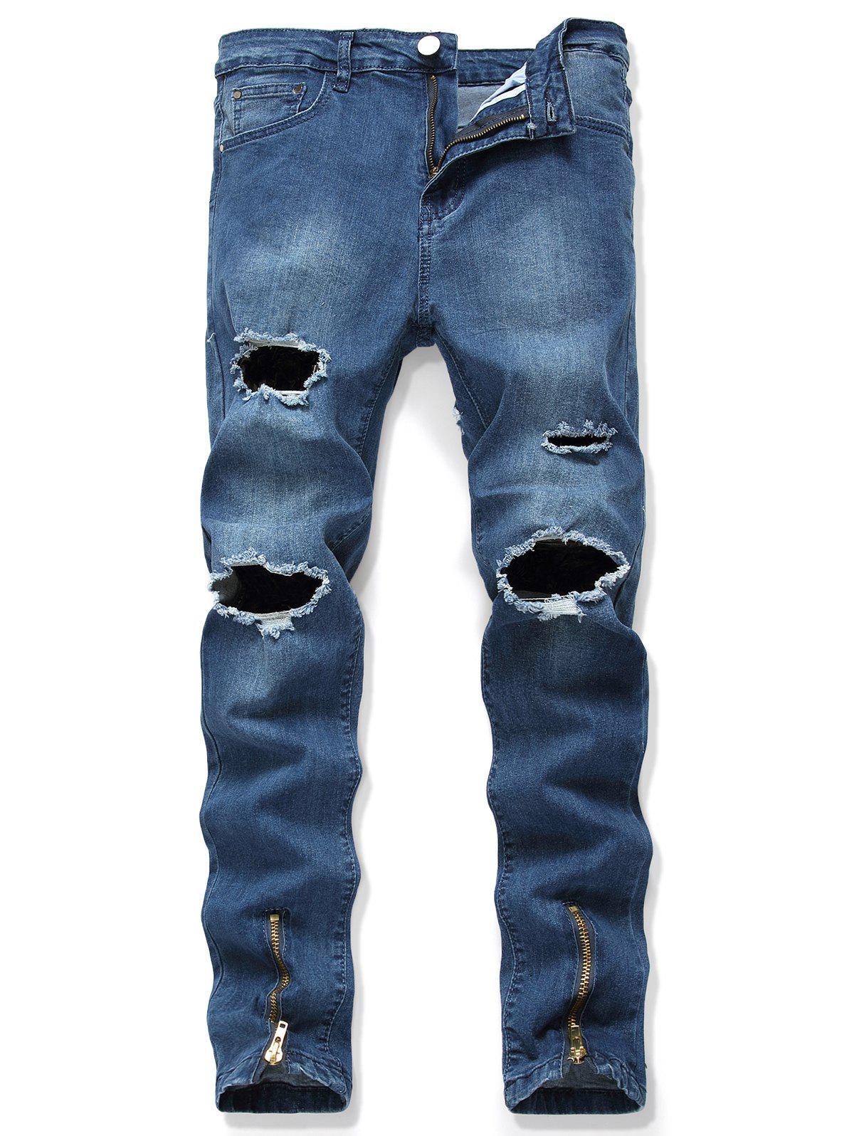 Discount Destroy Wash Long Jeans