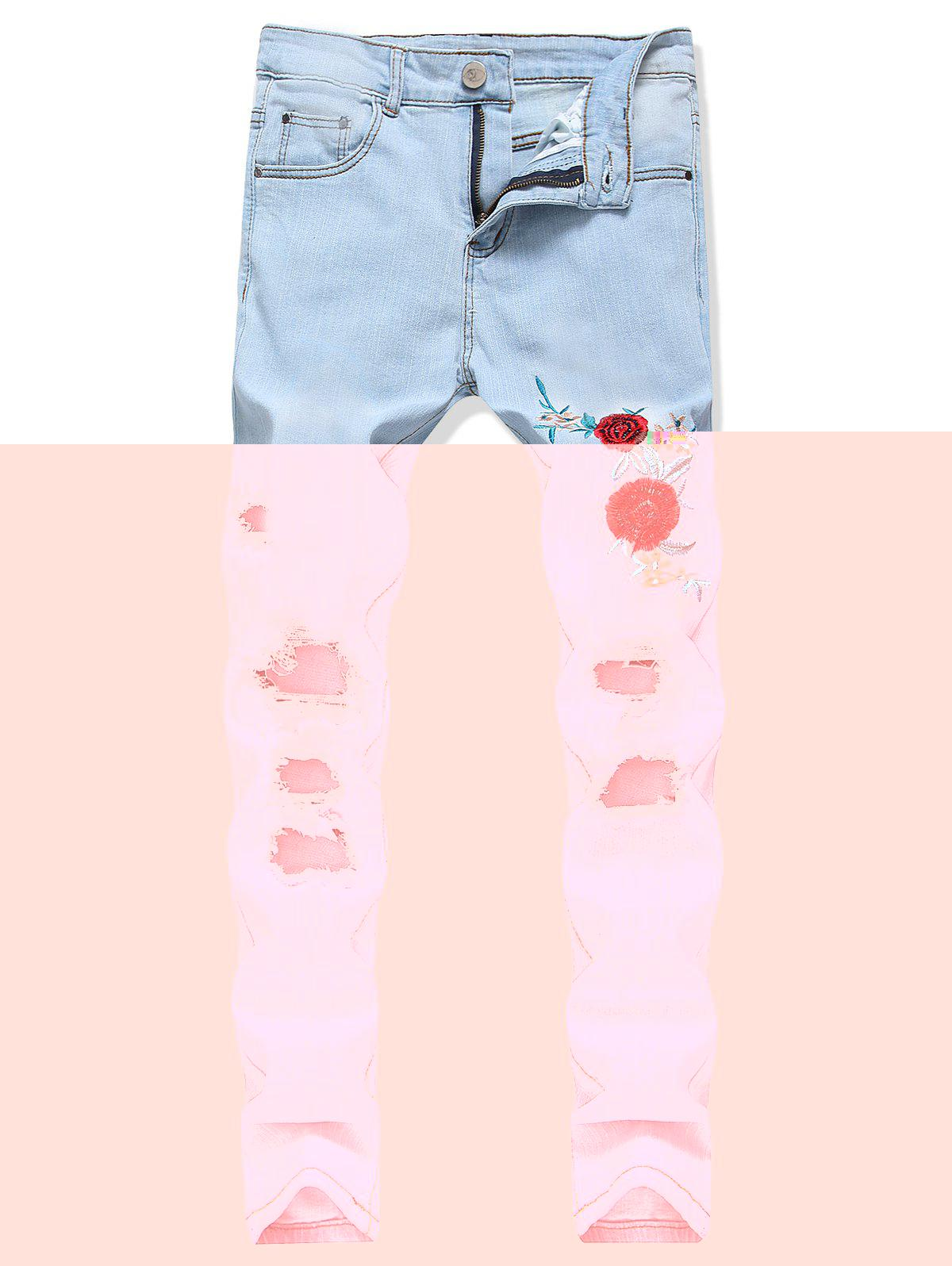 Sale Floral Embroidery Destroy Wash Jeans
