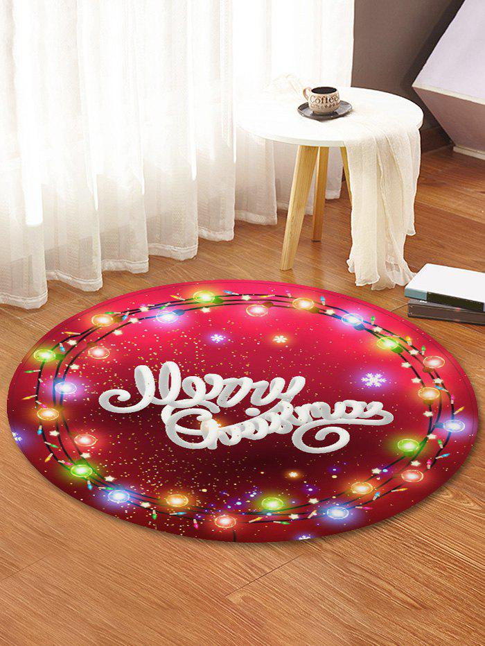Affordable Merry Christmas Light Pattern Round Floor Rug