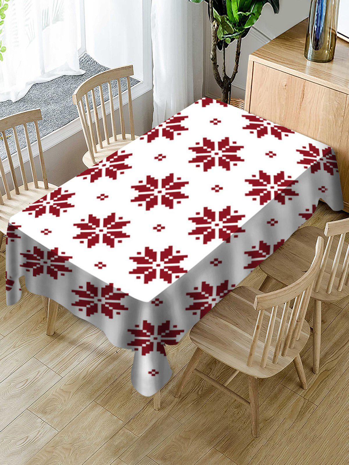 Trendy Christmas Snowflake Pattern Fabric Tablecloth