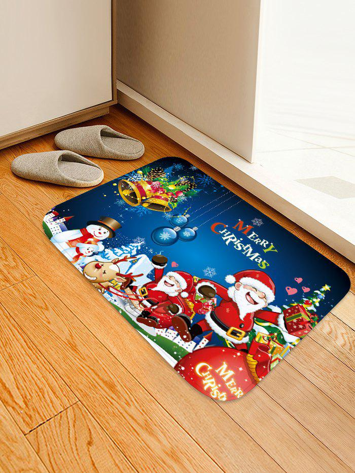 Hot Christmas Santa Claus Snowman Elk Pattern Flannel Water Absorption Area Rug