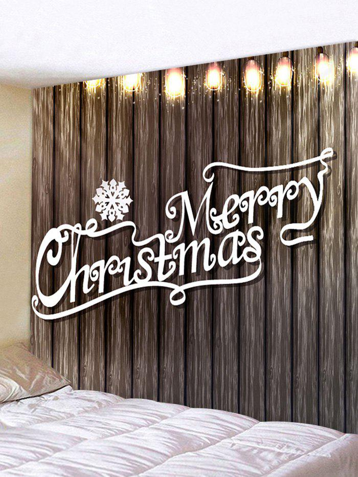 Cheap Christmas Letter Wood Grain Printing Waterproof Tapestry