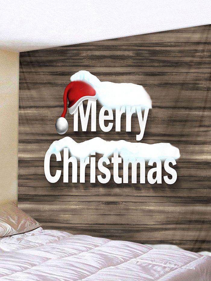 Online Christmas Hat Greetings Wood Grain Print Tapestry Wall Hanging Art Decoration