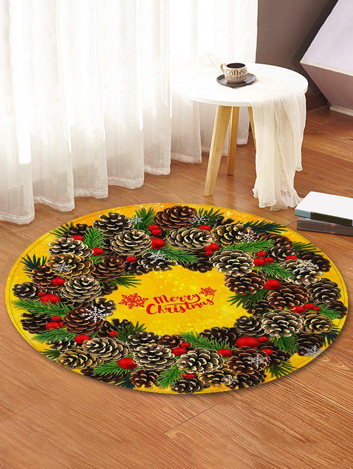 Shop Christmas Pine Cones Greeting Pattern Round Area Rug