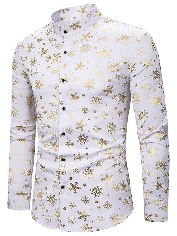 Fashion Snowflake Gilding Printed Long Sleeves Shirt