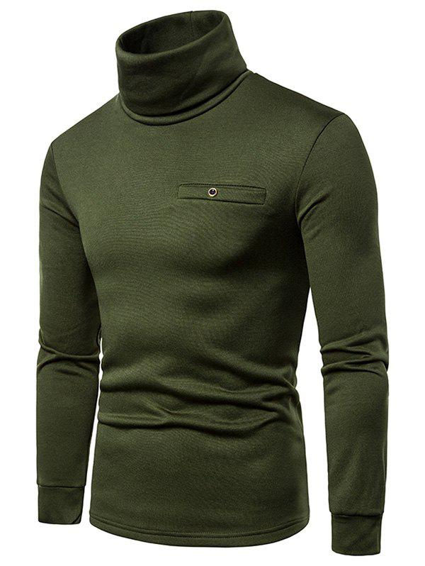 Fashion Solid Color Turtleneck Faux Pocket Fleece T-shirt