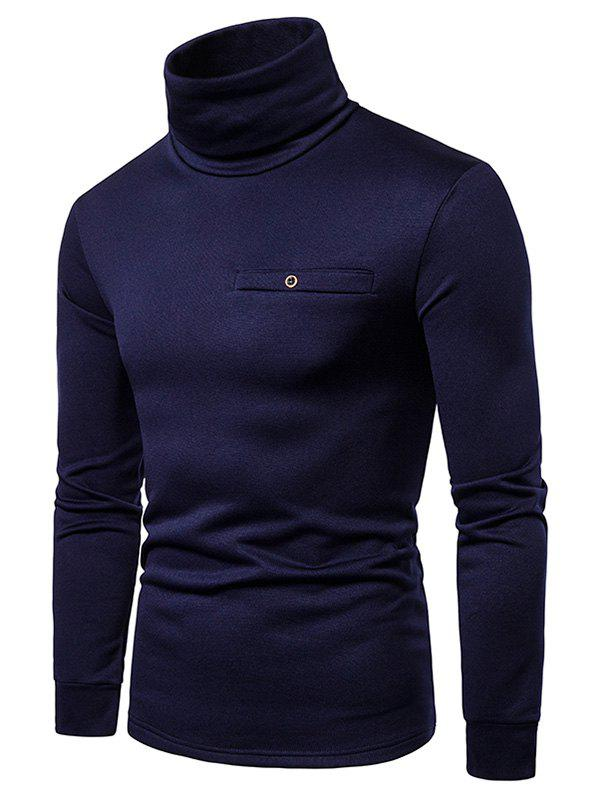 Trendy Solid Color Turtleneck Faux Pocket Fleece T-shirt