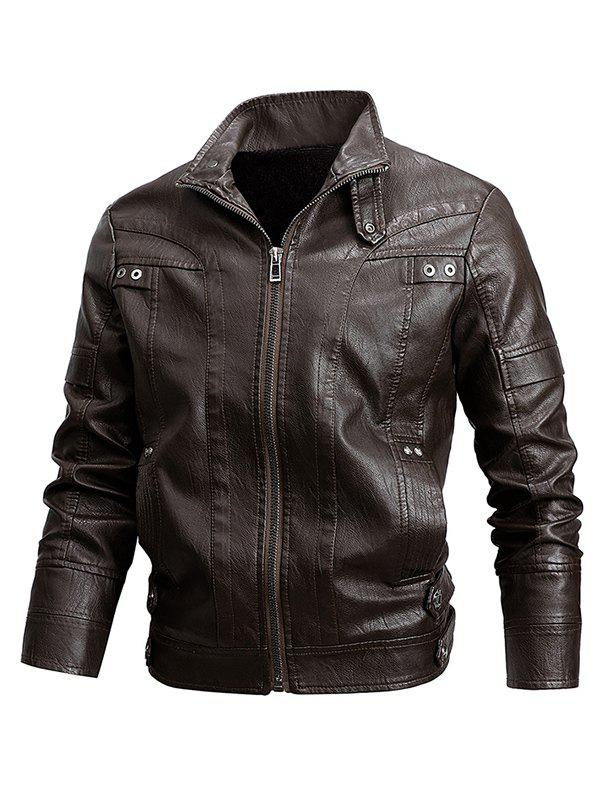 Veste de Motard Zippée Simple en Faux Cuir