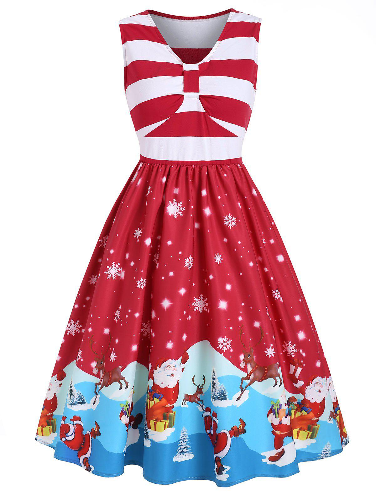 Online Santa Claus Snowflake Striped V Neck Christmas Dress