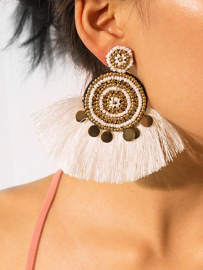 Outfit Ethnic Fringe Beads Round Earrings
