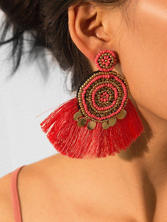 Sale Ethnic Fringe Beads Round Earrings