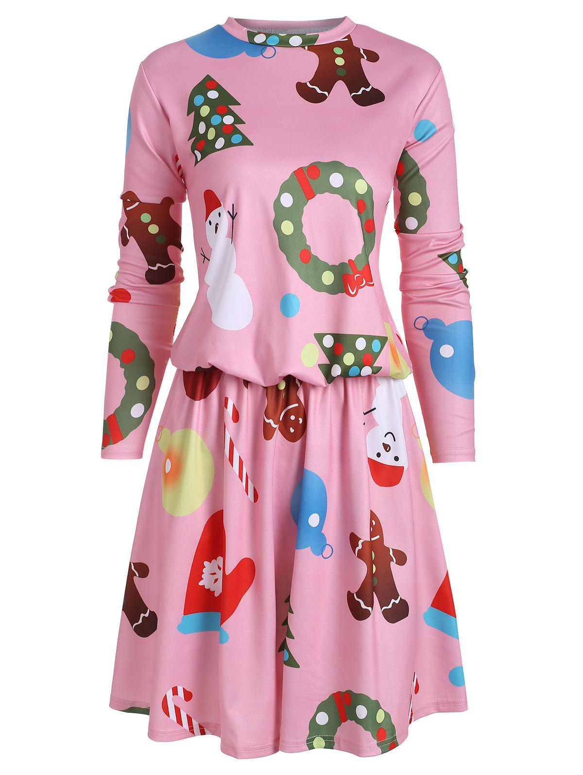 New Drop Waist Christmas Tree Snowman Long Sleeve Dress