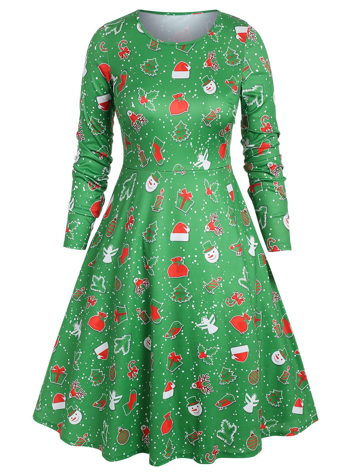 Outfit Plus Size Christmas Printed Midi A Line Dress