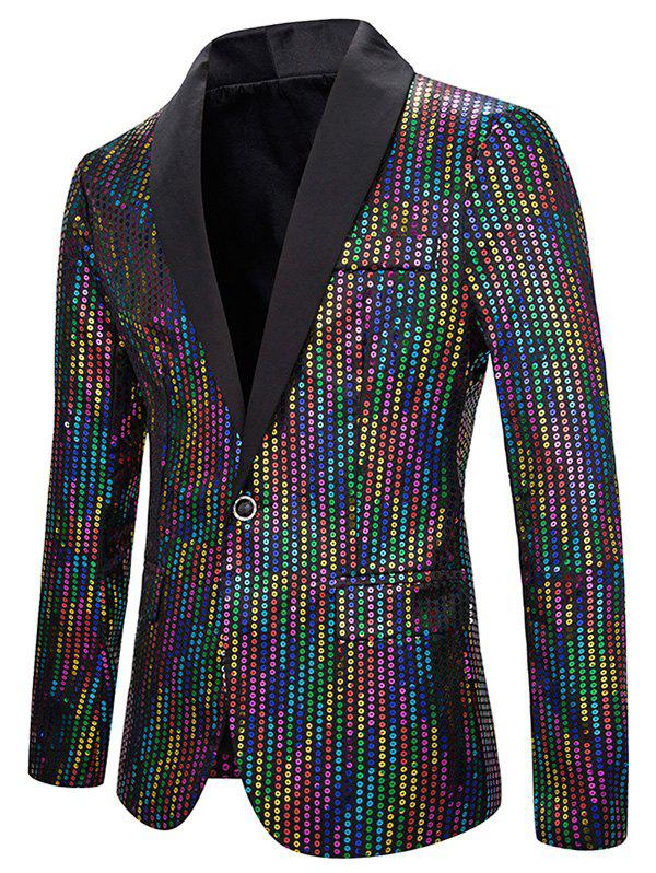 Shops Shiny Colorful Sequined One Button Shawl Collar Blazer