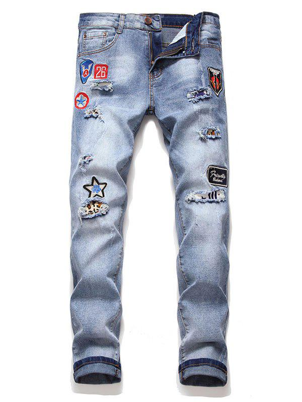 Hot Letter Icon Embroidery Casual Jeans