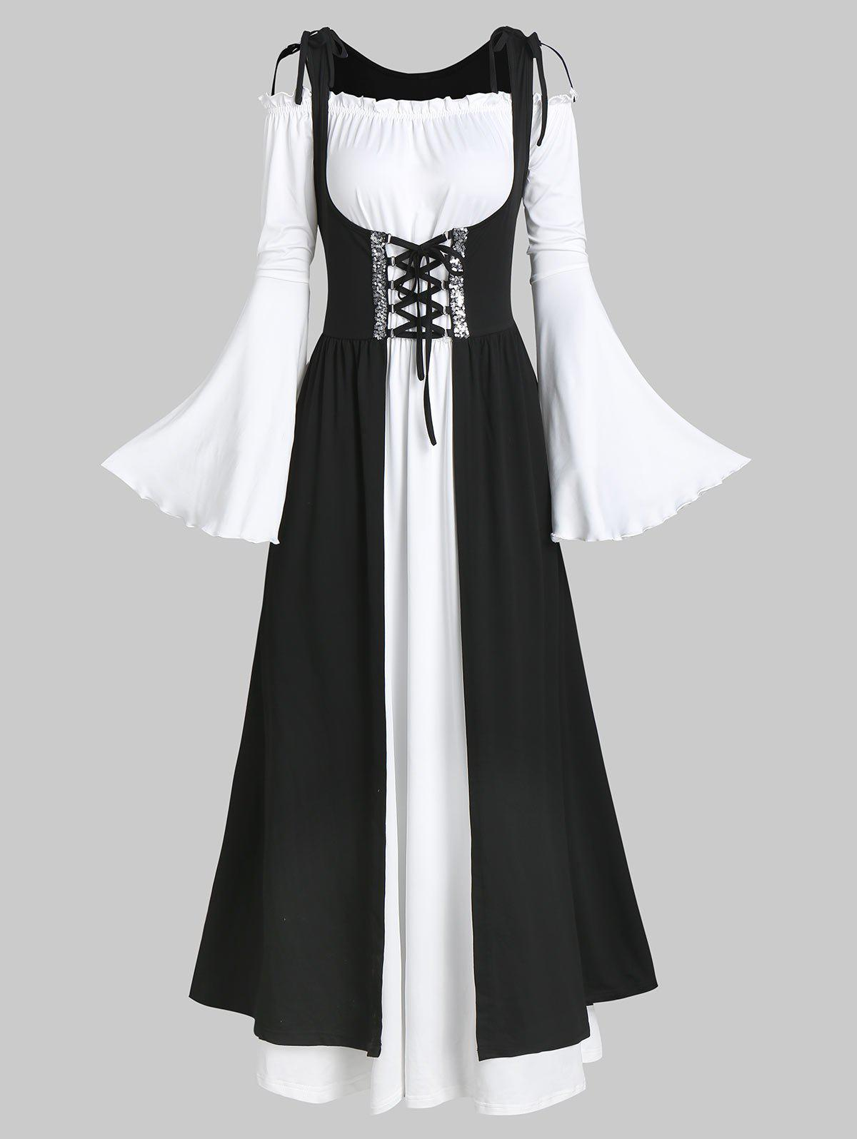 Fashion Flare Sleeve Maxi Dress and Sequin Insert Lace-up Long Vest