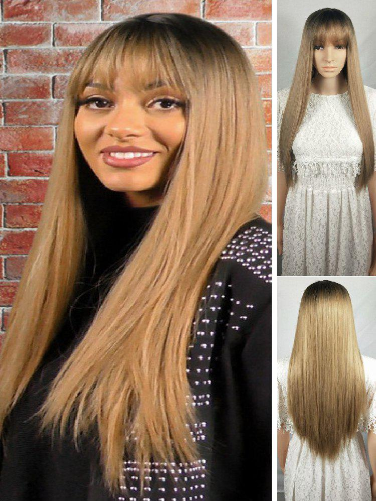 Fashion Ombre Long See-through Bang Straight Synthetic Wig