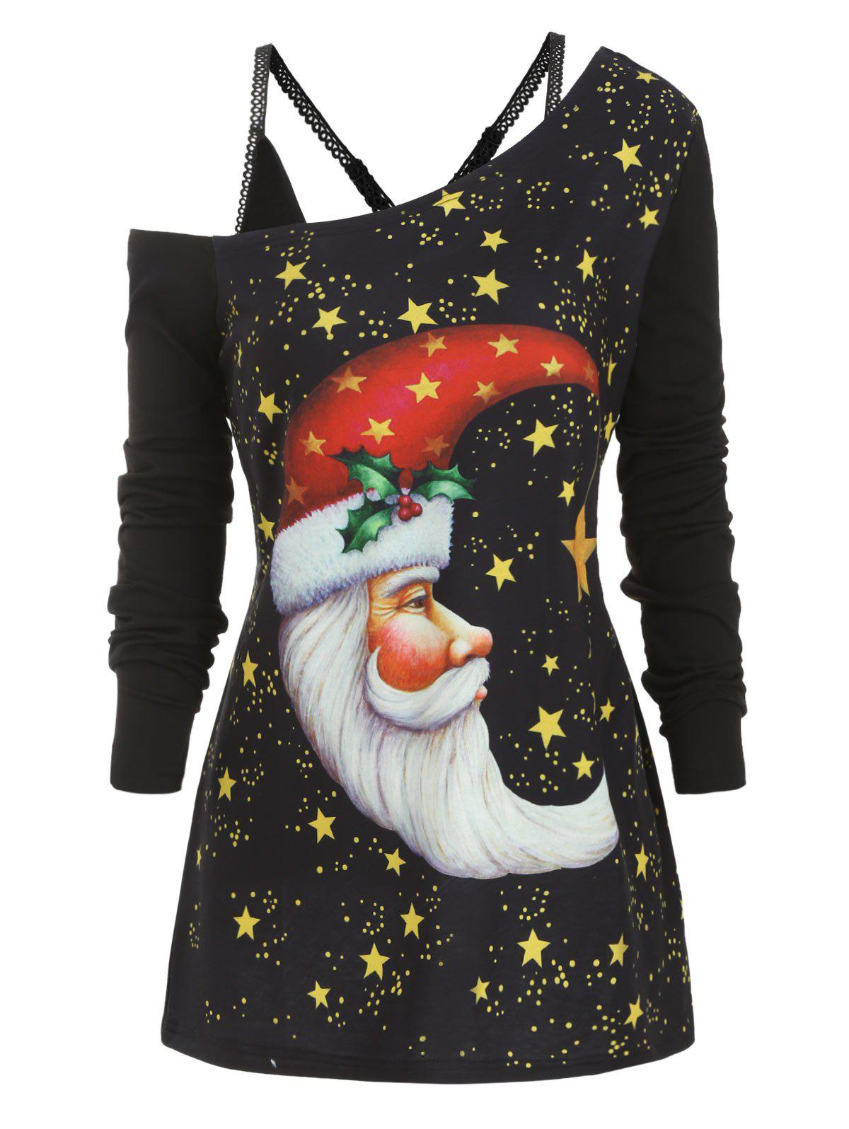 Best Moon Christmas Longline Top with Cami Top