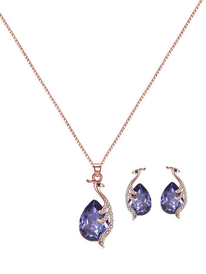 Sale Faux Gemstone Peacock Teardrop Necklace and Earrings
