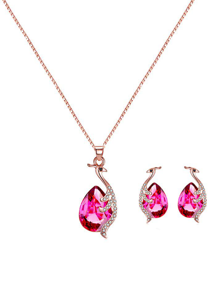 Discount Faux Gemstone Peacock Teardrop Necklace and Earrings