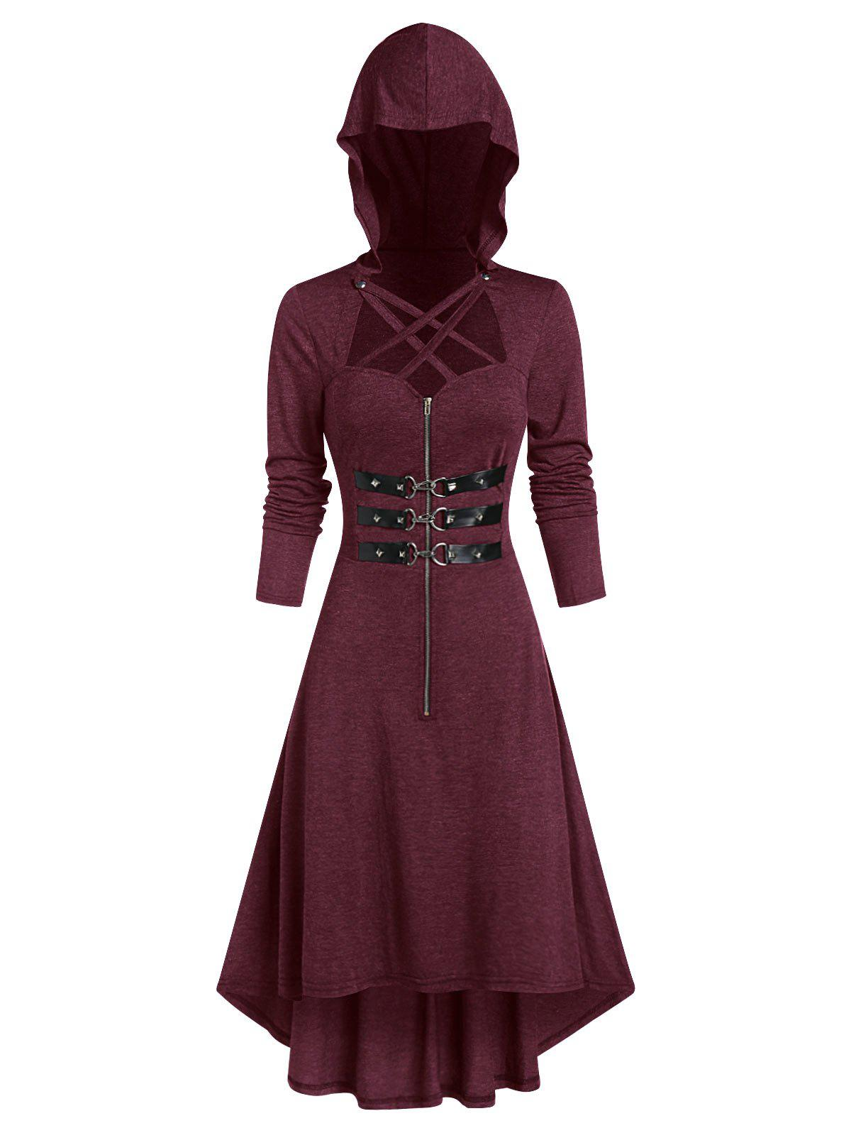 Unique Hooded Strappy Lobster Buckle Strap High Low Gothic Dress