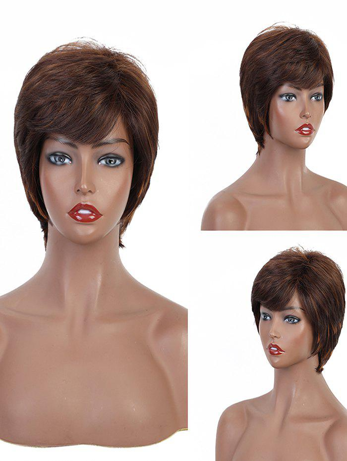 Buy Side Bang Short Straight Layered Synthetic Wig