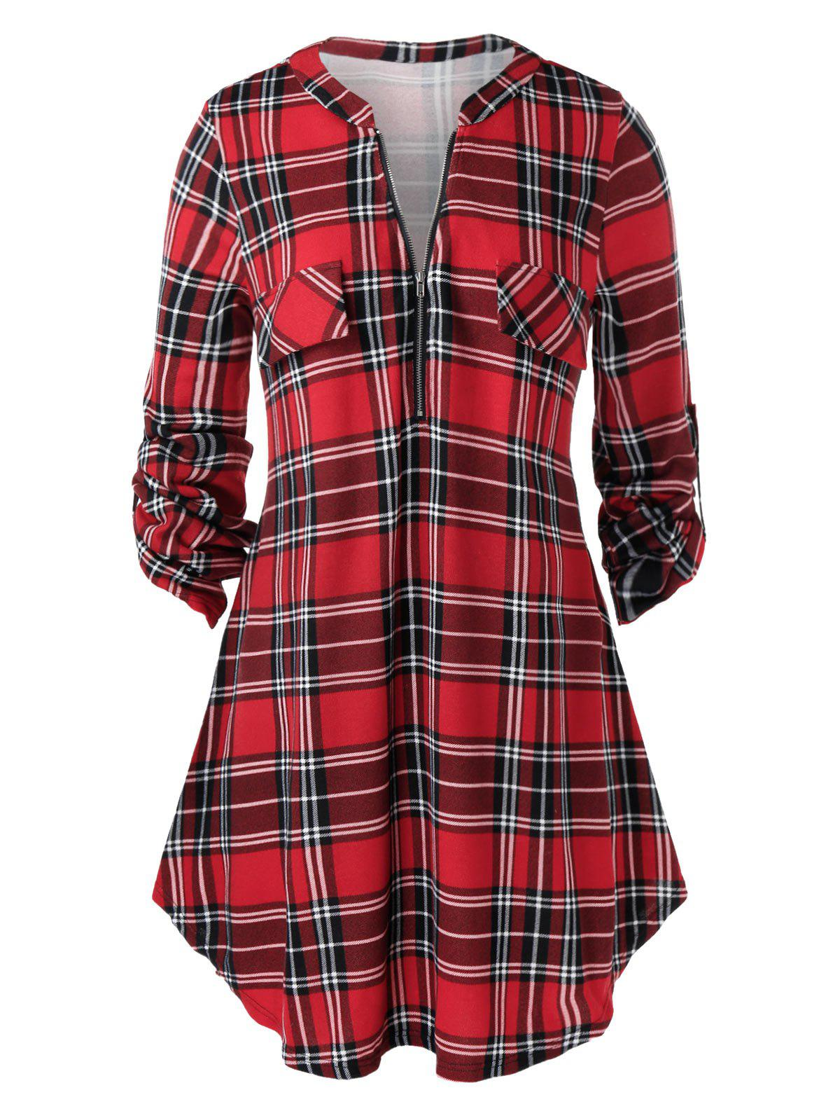 Buy Plus Size Half Zip Roll Up Sleeve Plaid Blouse
